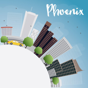 Phoenix Skyline with Grey Buildings, Blue Sky and copy space